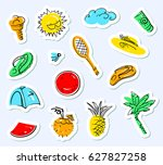 summer stickers set. doodle...