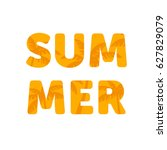 summer word with palm trees cut ... | Shutterstock .eps vector #627829079