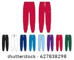 sportswear track pants    front ... | Shutterstock .eps vector #627838298