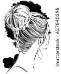 beautiful braided bun hairstyle   Shutterstock .eps vector #627840398