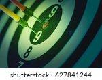 dart goal with a target arrow... | Shutterstock . vector #627841244