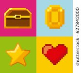 pixelated video game icons | Shutterstock .eps vector #627842000