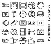 movie icons set. set of 25... | Shutterstock .eps vector #627842498