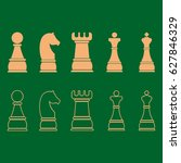 chess icons  outline chess... | Shutterstock .eps vector #627846329