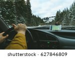 driver's hands on a steering... | Shutterstock . vector #627846809