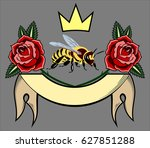 an image of a bee with roses  a ... | Shutterstock .eps vector #627851288