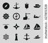nautical icons set. set of 16...   Shutterstock .eps vector #627851528