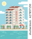 vector hotel building and sea... | Shutterstock .eps vector #627857150