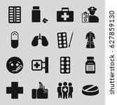 illness icons set. set of 16... | Shutterstock .eps vector #627859130