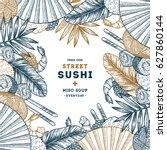 sushi frame illustration. asian ... | Shutterstock .eps vector #627860144