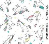 unicorn magic seamless pattern | Shutterstock .eps vector #627863423