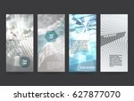 set silver abstract geometric... | Shutterstock .eps vector #627877070