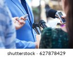 reporters making media... | Shutterstock . vector #627878429