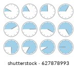 blue clock  fourty five minutes ... | Shutterstock .eps vector #627878993