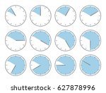 blue clock  fifty minutes or... | Shutterstock .eps vector #627878996