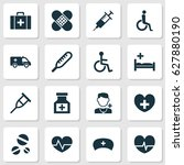 medicine icons set. collection... | Shutterstock .eps vector #627880190