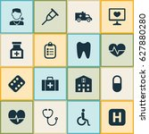 antibiotic icons set.... | Shutterstock .eps vector #627880280