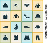 garment icons set. collection... | Shutterstock .eps vector #627880508