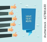 a lot of hands with likes from... | Shutterstock .eps vector #627881630