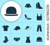 clothes icons set. collection... | Shutterstock .eps vector #627882230