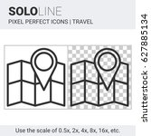 pixel perfect solo line map... | Shutterstock .eps vector #627885134