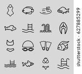 swimming icons set. set of 16... | Shutterstock .eps vector #627885299