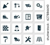 architecture icons set.... | Shutterstock .eps vector #627886640