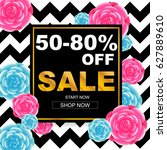sale banner with rose background | Shutterstock .eps vector #627889610