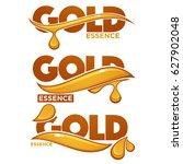 golden oil drops  collagen... | Shutterstock .eps vector #627902048
