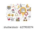 franchise business line icons... | Shutterstock .eps vector #627903374