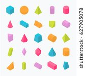 Huge set of 3D geometric shapes with isometric views. Vector flat objects isolated on a light background. The science of math and geometry.  | Shutterstock vector #627905078