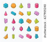 huge set of 3d geometric shapes ... | Shutterstock .eps vector #627905240