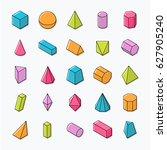 huge set of 3d geometric shapes ... | Shutterstock .eps vector #627905240