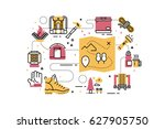 outdoor camping line icons... | Shutterstock .eps vector #627905750