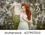 spring beautiful romantic red... | Shutterstock . vector #627907010