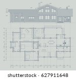 architectural blueprint of the... | Shutterstock .eps vector #627911648
