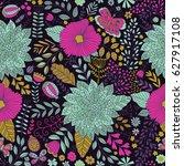 vector flower pattern. seamless ...   Shutterstock .eps vector #627917108