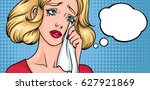 crying woman face. sad girl ... | Shutterstock .eps vector #627921869
