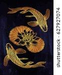 hand drawn ethnic fish  koi... | Shutterstock .eps vector #627927074