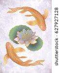 hand drawn ethnic fish  koi... | Shutterstock .eps vector #627927128