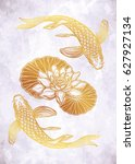 hand drawn ethnic fish  koi... | Shutterstock .eps vector #627927134