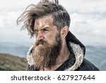 hipster  bearded man  long