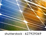 solar panel with reflection of... | Shutterstock . vector #627929369