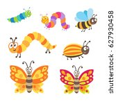 Set Of 6 Cute Vector Insects....