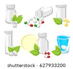 pills and capsules elements set.... | Shutterstock .eps vector #627933200