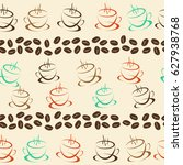 coffee seamless background for... | Shutterstock .eps vector #627938768