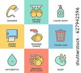 icons of hygiene. set contains... | Shutterstock .eps vector #627942596