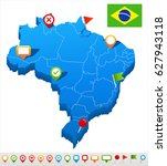 brazil map vector | Shutterstock .eps vector #627943118