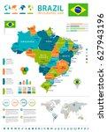 brazil map vector info graphic | Shutterstock .eps vector #627943196