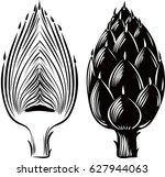 raw artichokes one cut in half. | Shutterstock .eps vector #627944063